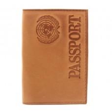 """Обложка для паспорта""""Passport"""" цвет коньяк"""